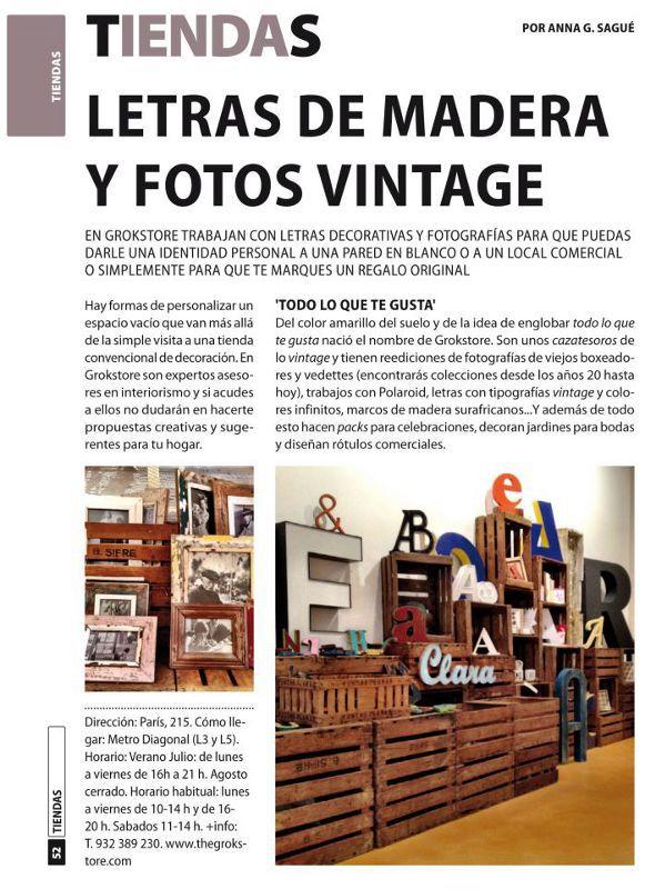 Reportaje sobre tiendas en la publicación Guia del ocio julio 2012