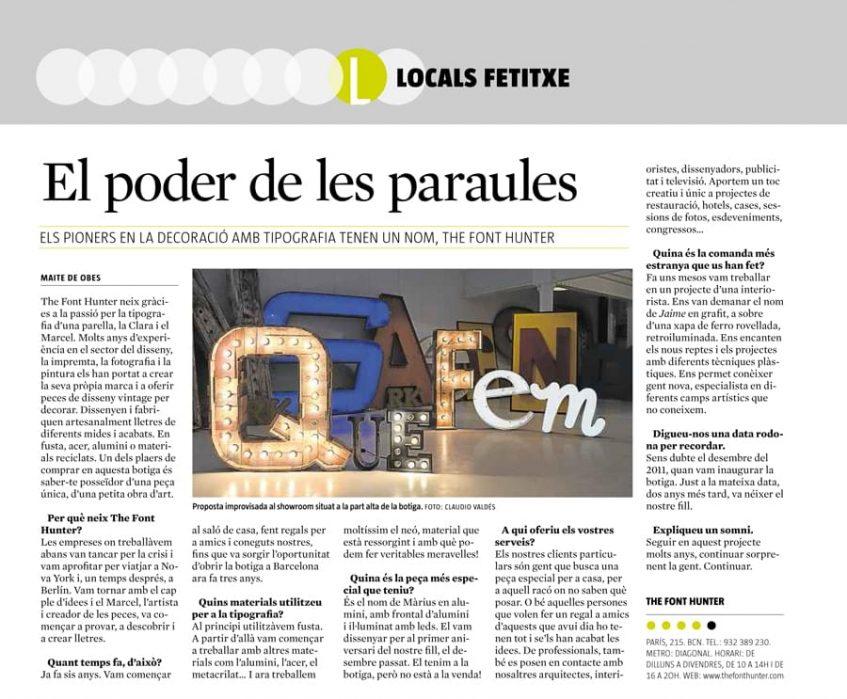 Artículo en el suplemento semanal QUÉ FEM de La Vanguardia en octubre de 2014