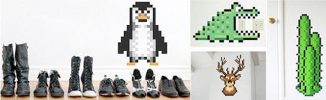 Ejemplo pared Juego colección vinilos pixelados para montar en casa Puxxle