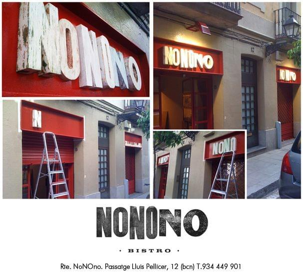 Montaje imágenes rótulos exteriores madera restaurante Nonono