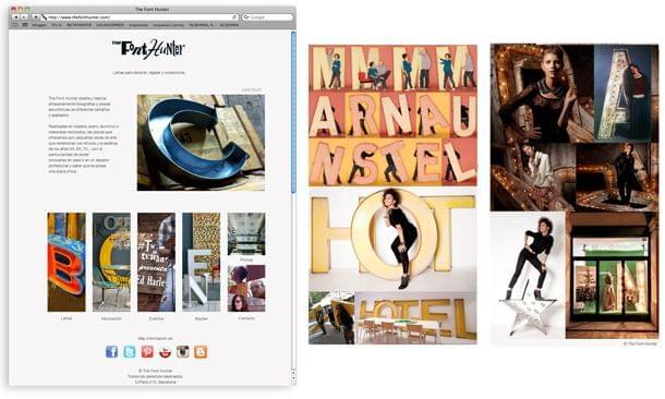 Montaje imágenes de la nueva web de The Font Hunter