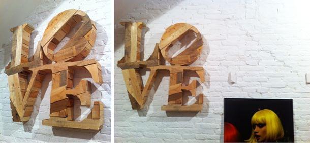 Rótulo madera palabra Love
