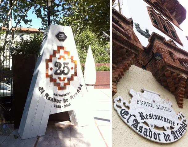 Cartel conmemoración 100 años Casa Frare Blanc y escultura 25 años del Asador de Aranda