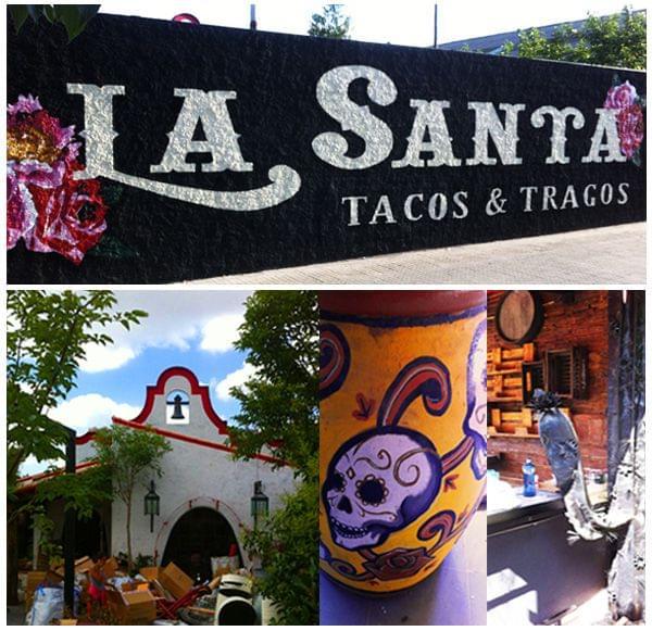 Letras iluminadas con lámparas para restaurante mexicano La Santa. Imágenes de la decoración