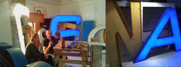 Rótulos imaginarios vs Rótulos antiguos. Preparación fiesta tienda calle paris