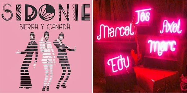 Cartel Sidonie y letras neon